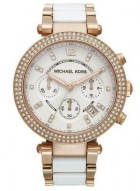 Michael Kors White Acetate and Rose Gold-Tone Watch MK5774