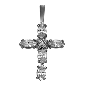 Birthstone Cross Necklace Style 104 with 1 Stone