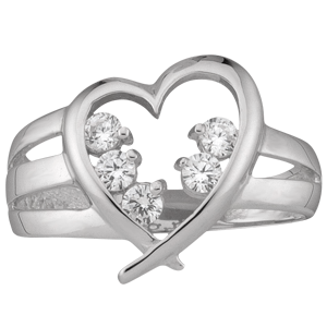Mothers Ring style 152 Heart Birthstone Ring with 5 Stones