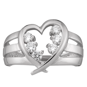 Mothers Ring style 152 Heart Birthstone Ring with 6 Stones