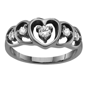 Mothers Ring Style 301 Heart Birthstone Ring with 5 Stones