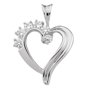 Birthstone Heart Necklace style 83 with 6 Stones