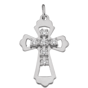 Birthstone Cross Necklace Style 99 with 6 Stones